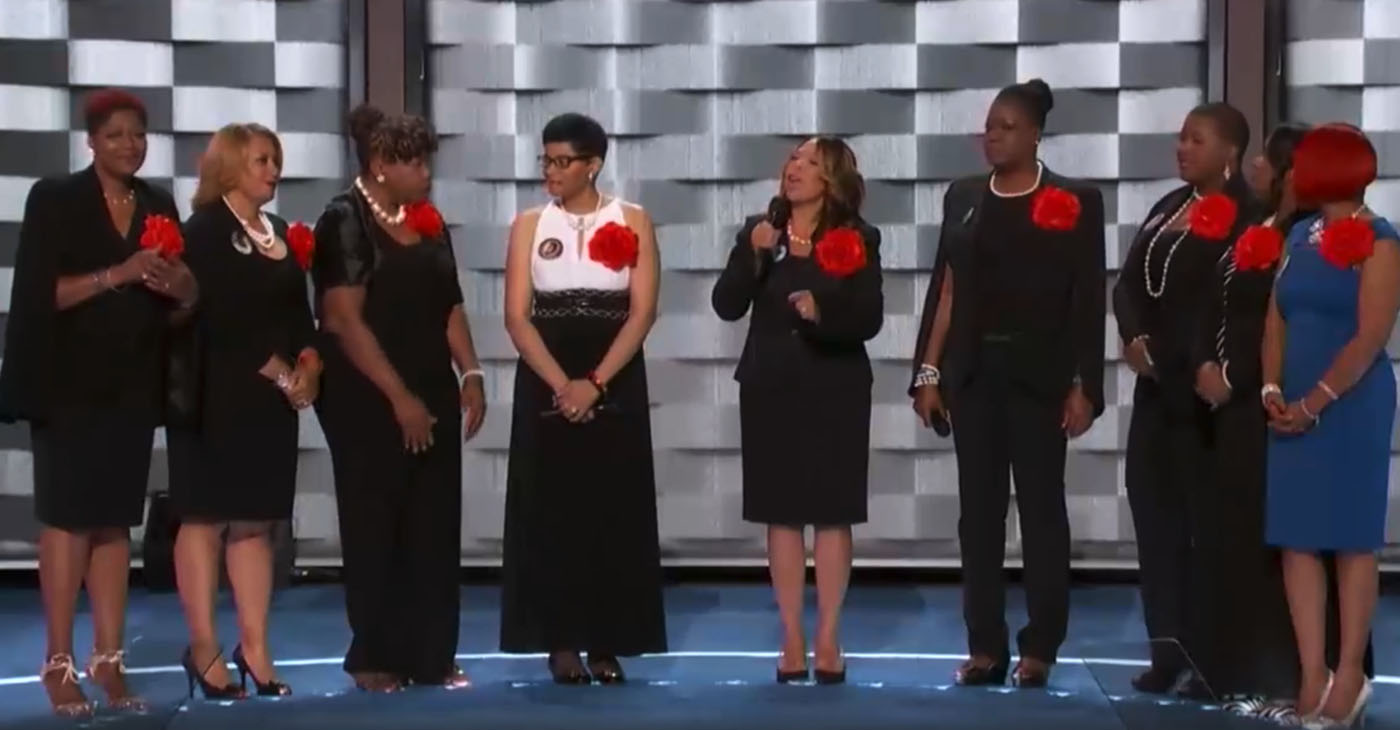 """Today, 76 percent of Americans recognize that racism is """"a big problem"""" in this country, representing a 26 percent increase from just five years ago. Mothers of the Movement (pictured, from the 2016 Democratic National Convention) is a group of African American women whose children have been killed by police officers or by gun violence."""